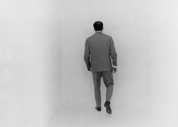 "Yves Klein in the ""void"" room of his Sensibilité Picturale Immatérielle, 1961"