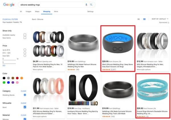 Example Google Shopping Listing