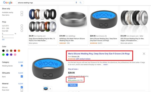 Example of Google Shopping Product Listing