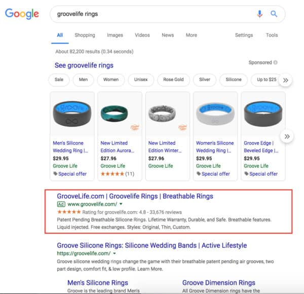 Example of branded search terms for Groove Life