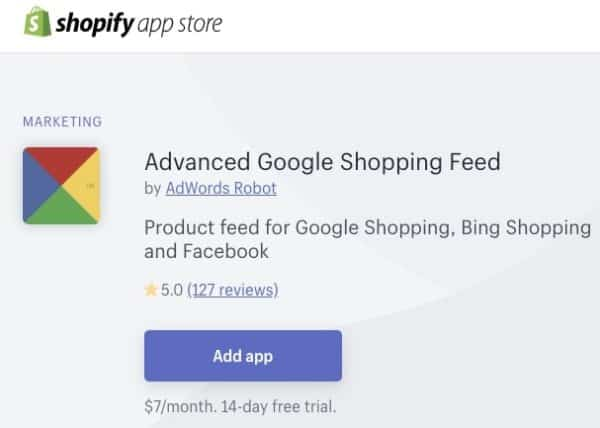 Screenshot of Advanced Google Shopping Feed Shopify App