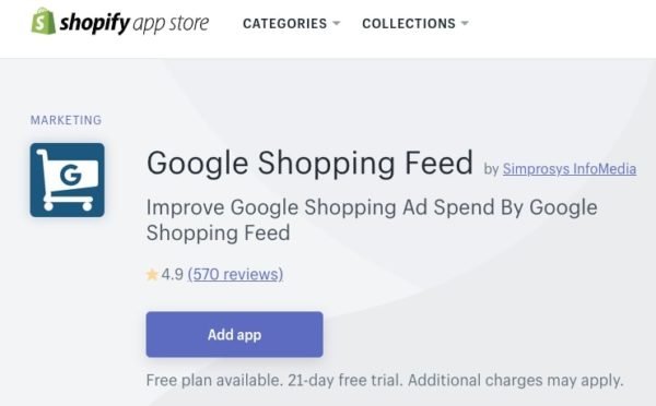 Screenshot of Google Shopping Feed Shopify App