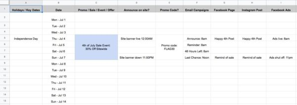 Metacake Promo Calendar Example