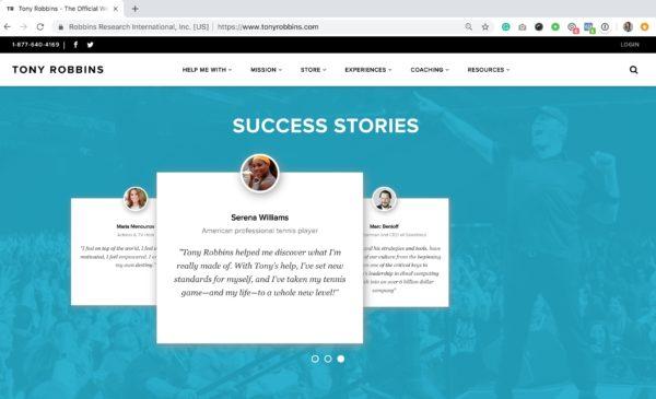Example: Tony Robbins Testimonials & Reviews