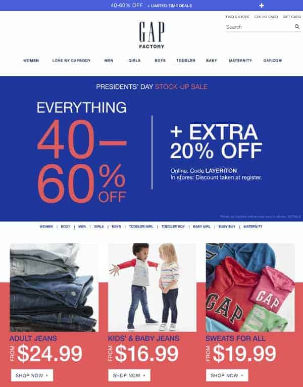 Gap Factory | Top President's Day Sales | OPAS