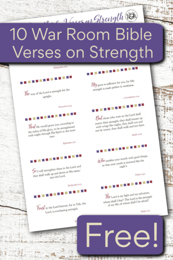 Download these 10 verses on strength for your war room to help remind you from where you strength comes on those days when you feel fatigued and weak. #alittlerandr #Bibleverses #WarRoom #Printable