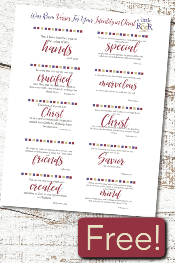Here are 10 Bible verses about your identity in Jesus Christ for your war room. Download a copy of these Bible verse cards today! #ALittleR&R #warroom #warroomverses #identityinChrist #bibleverses #bible #prayer