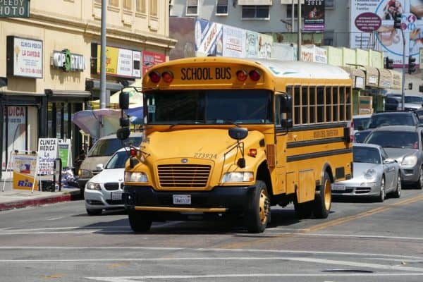A school bus on a New York City street.