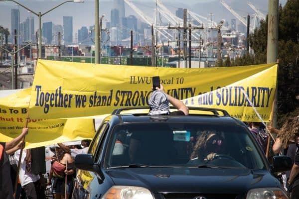 ILWU banner at protest