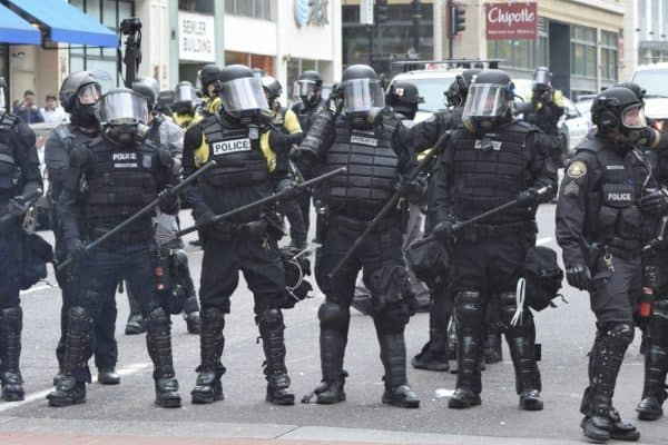 Police at a protest in Portland, OR