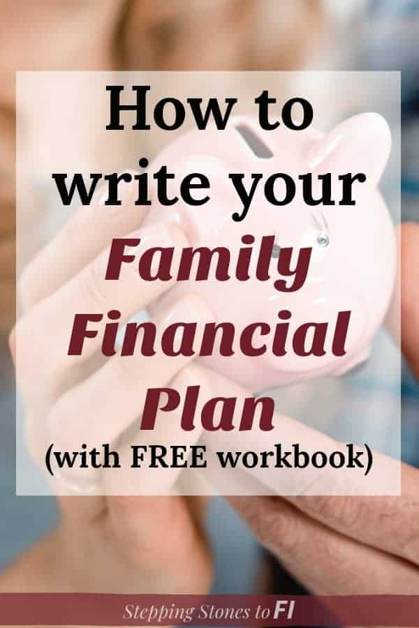 "Close up of family holding a piggy bank and text ""How to write your family financial plan - with free workbook"""