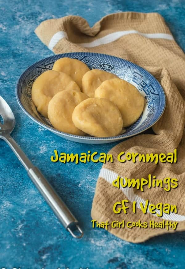 These Jamaican cornmeal dumplings are so quick and easy, gluten and wheat free alternative for soup and stews