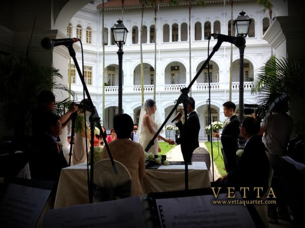 Wedding Ceremony at Raffles Hotel Palm Court Singapore