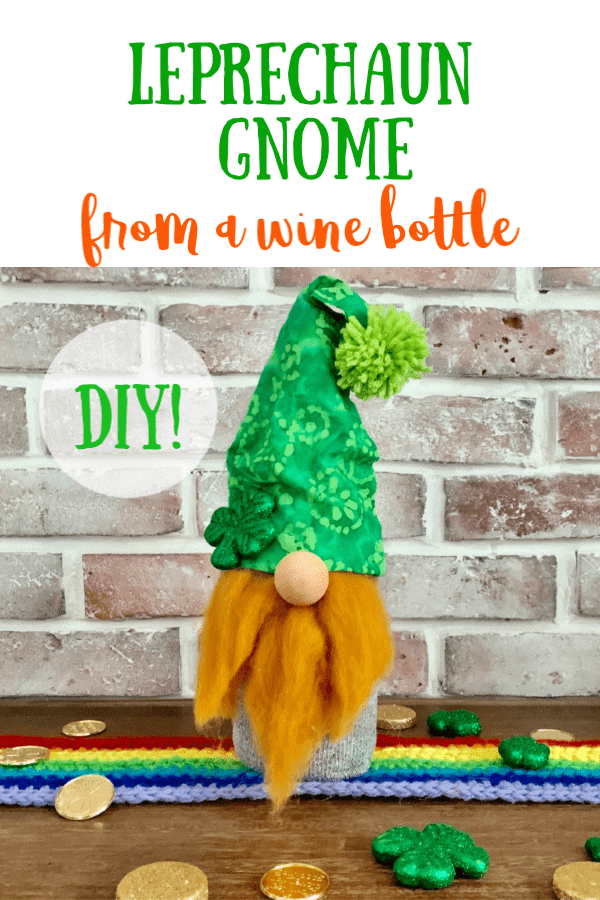 Leprechaun gnome craft make from a sock and wine bottle