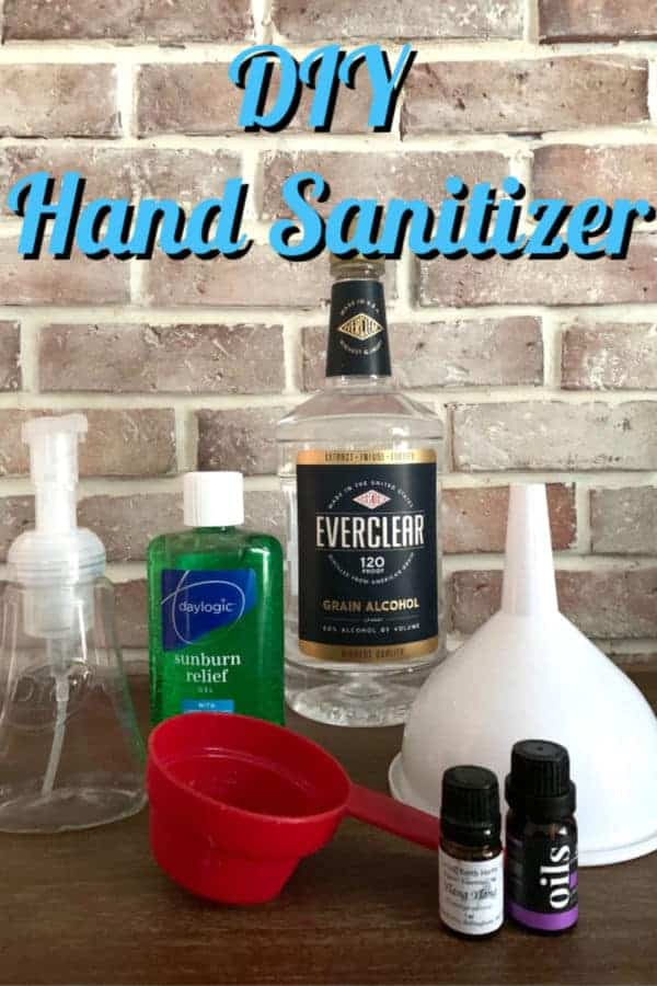 homemade hand sanitizer ingredients on a table