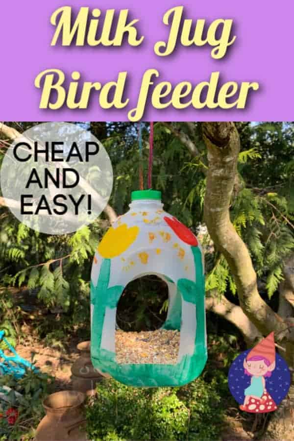 Make a bird feeder out of a recycled milk jug