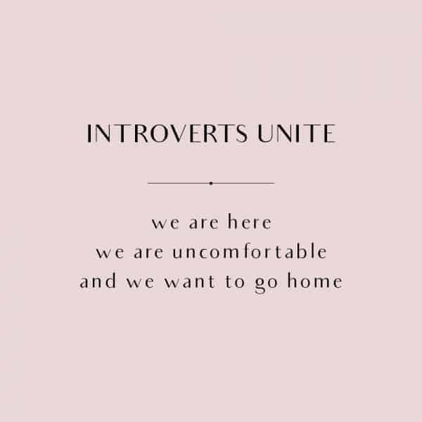 Quote on a pink background that says: Introverts Unite: We are here, we are uncomfortable and we want to go home.