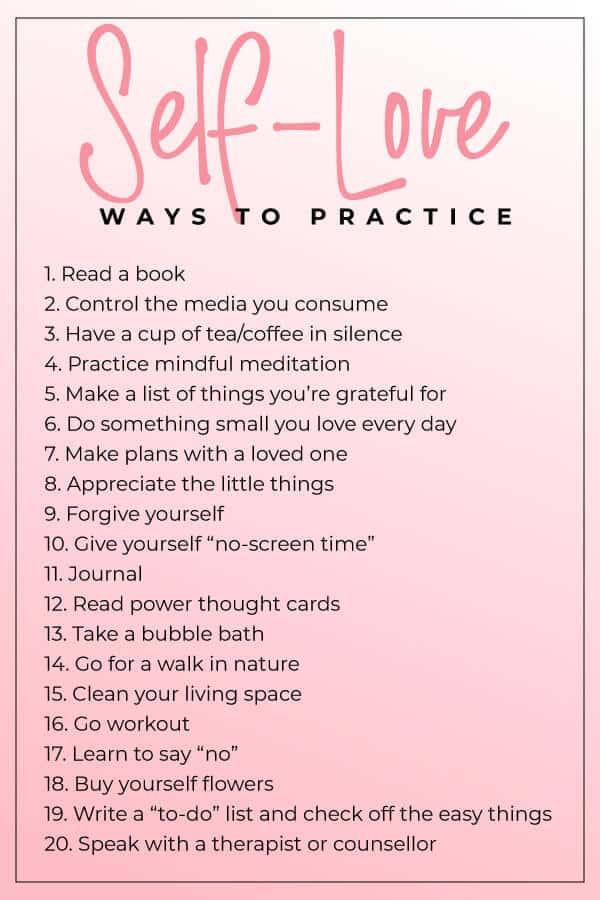 list of ways to practice self love