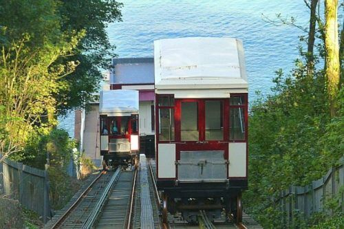 The Babbacomb funicular train in Devon