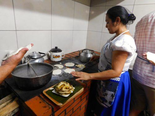 Freshly made tortillas at a farmhouse dinner in arenal, costa rica