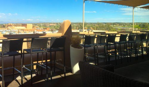 The Bell Tower bar overlooking Santa Fe