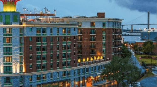 The new homewood suites hotel in savannah, sitting by the river.