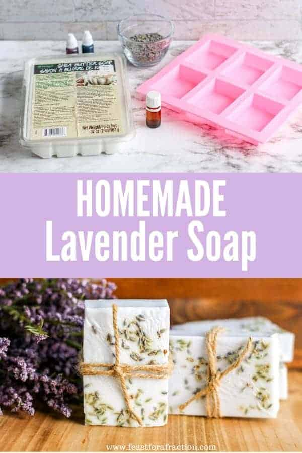 "lavender soap ingredients and lavender bar soap with title text ""Homemade Lavender Soap"""
