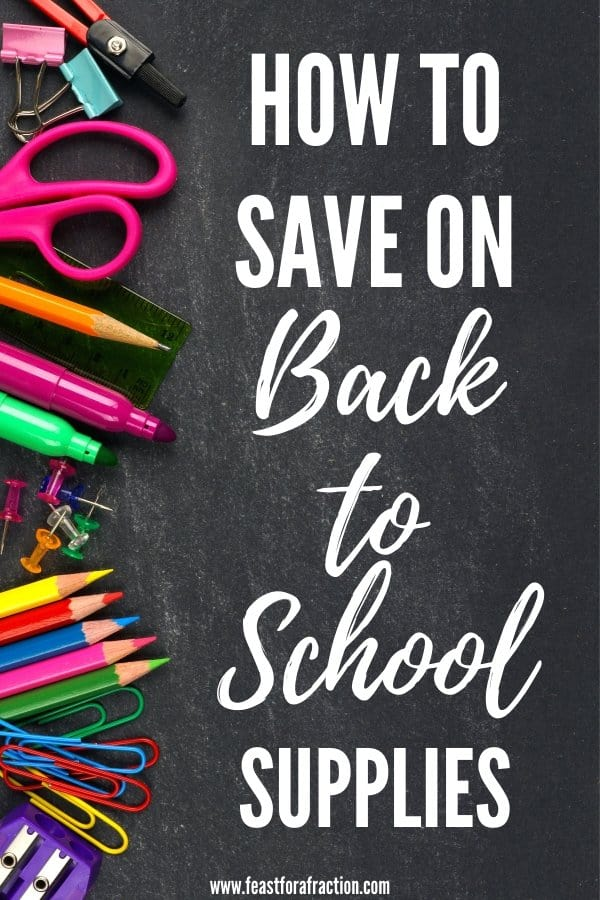 """chalkboard background with school supplies scattered with title text """"How to Save on Back to School Supplies"""""""