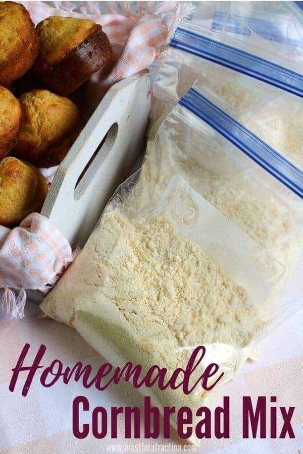 """portioned bags of cornbread mix with title text """"Homemade Cornbread Mix"""""""