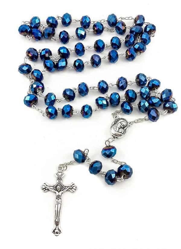 Deep Blue Sapphire Crystals Beads Rosary Necklace from the Holy Land