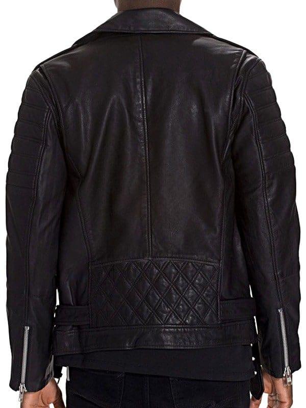 Mens Brando Style Terminator 2 Leather Jacket Black Back