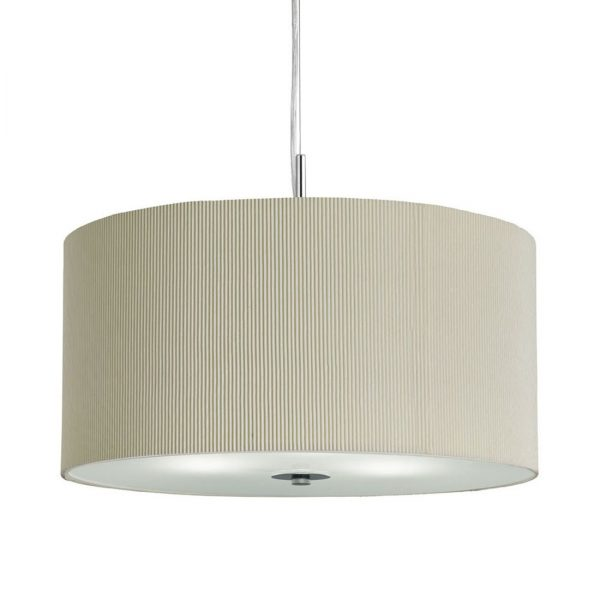 Searchlight 2356-60CR Drum Pleat Cream 3 Light Pendant with Frosted Glass Diffuser