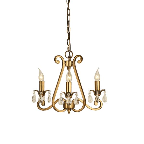 Interiors 1900 UL1P3B Oksana Antique Brass 3 Light Pendant