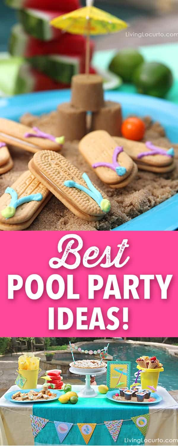 Have a splashing good time this summer with these easy Pool Party Ideas. Cute flip flop cookies, party printables, easy treats and more! A pool party is a great way to celebrate summer. I love these simple pool party ideas and easy recipes! You'll love the fun food dessert ideas. #pool #party #flipflops #cookies
