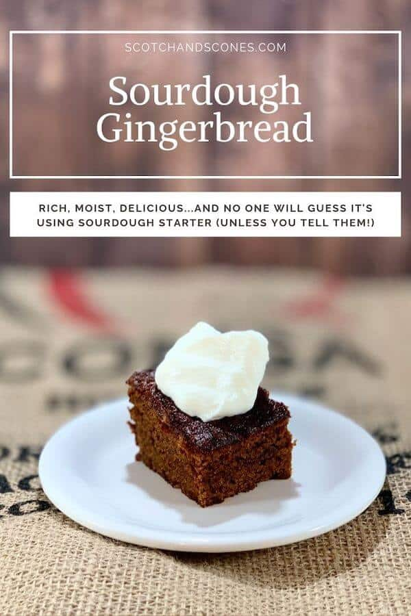 sourdough gingerbread plated with whipped cream Pinterest banner
