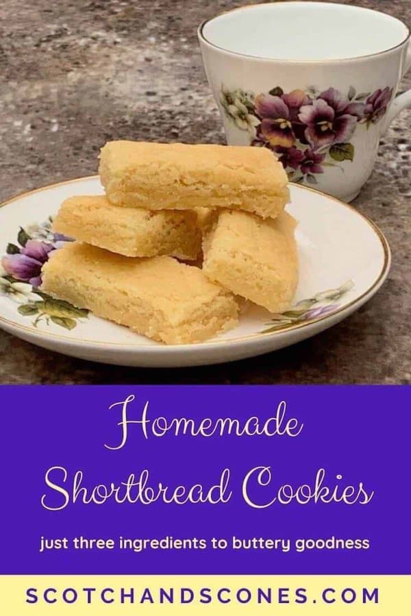 Homemade Shortbread Cookies on plate with teacup Pinterest banner