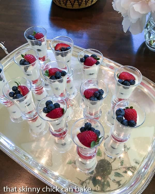 White Chocolate Berry Parfaits on a silver tray