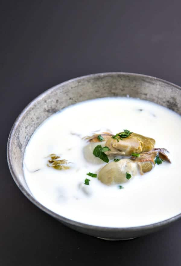 This easy Oyster Stew Recipe has just three ingredients and is absolutely delicious!