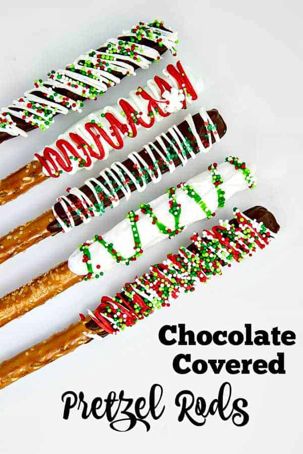 """Chocolate Covered Pretzel Rods are so fun and simple to make. They're the easiest """"Christmas cookie"""" out there and everyone loves them!"""