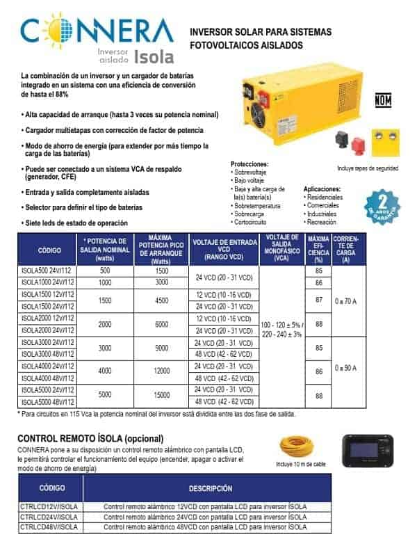 Inversor cargador solar Connera - Inversor cargador solar ISOLA1500 12V/112