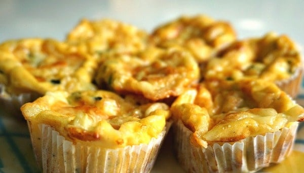 Mini Crustless Quiches with Zucchini and Swiss Cheese