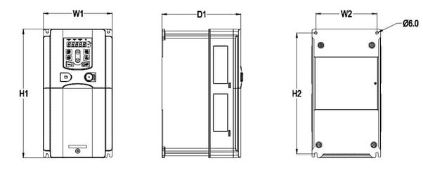Mô tả kích thước GD200A 0.75-15kw