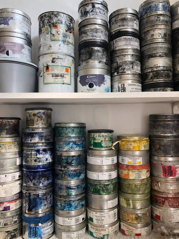 opened painting cans
