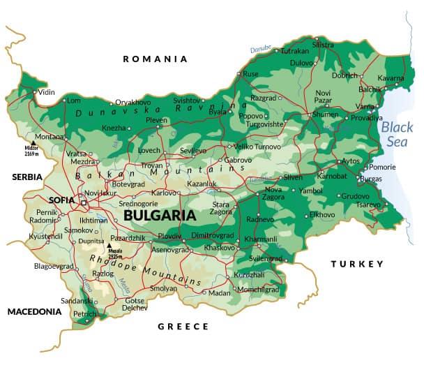 mapa de bulgària carreteres