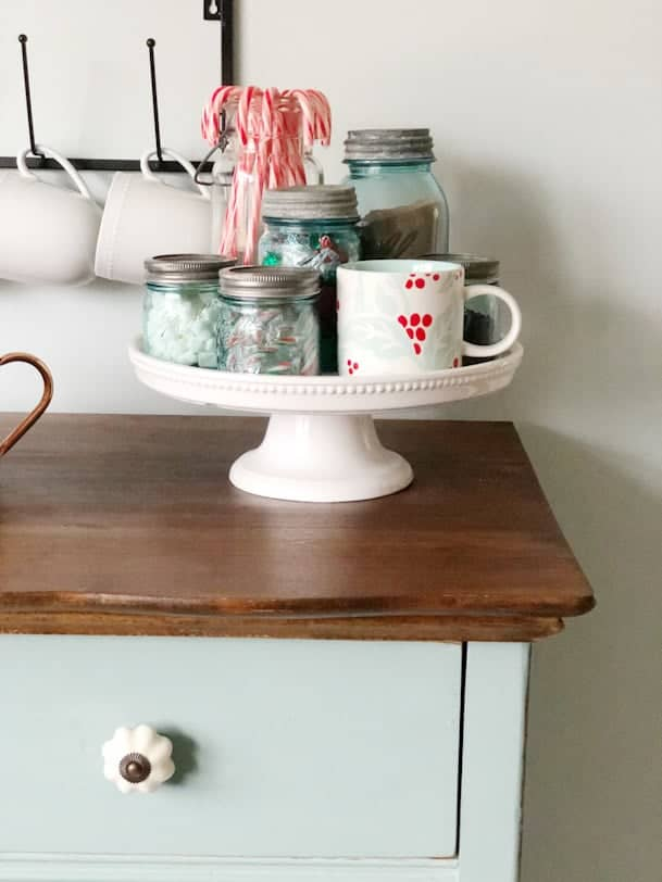 cake stand on buffet