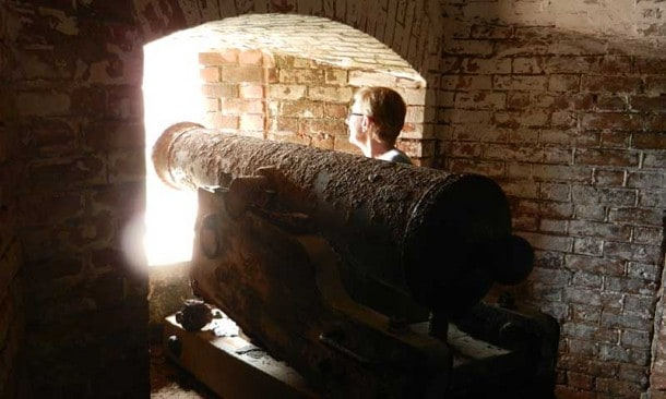 Dry Tortugas camping adventure: Most of Fort Jefferson consists of gunrooms known as casements, a honeycomb of brick arches. Some of the original rusting cannons are still in place. (Photo: David Blasco)