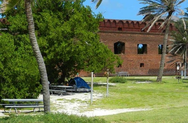 Campsite at Dry Tortugas National Park: Shade part of the day and steps from beach and fort. (Photo: Bonnie Gross)