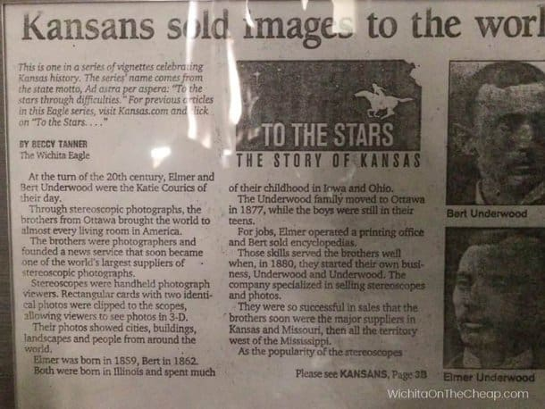 On display at the McCormick School Museum in Wichita - an article about the Kansas brothers who sold stereoscope photos