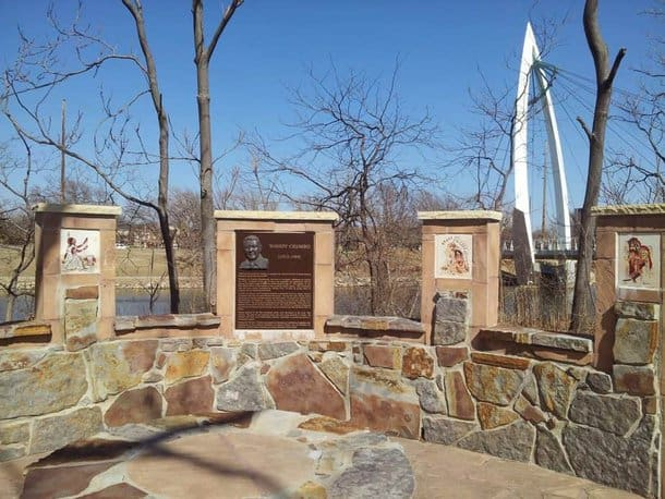 Informational displays at the Keeper of the Plains plaza in Wichita