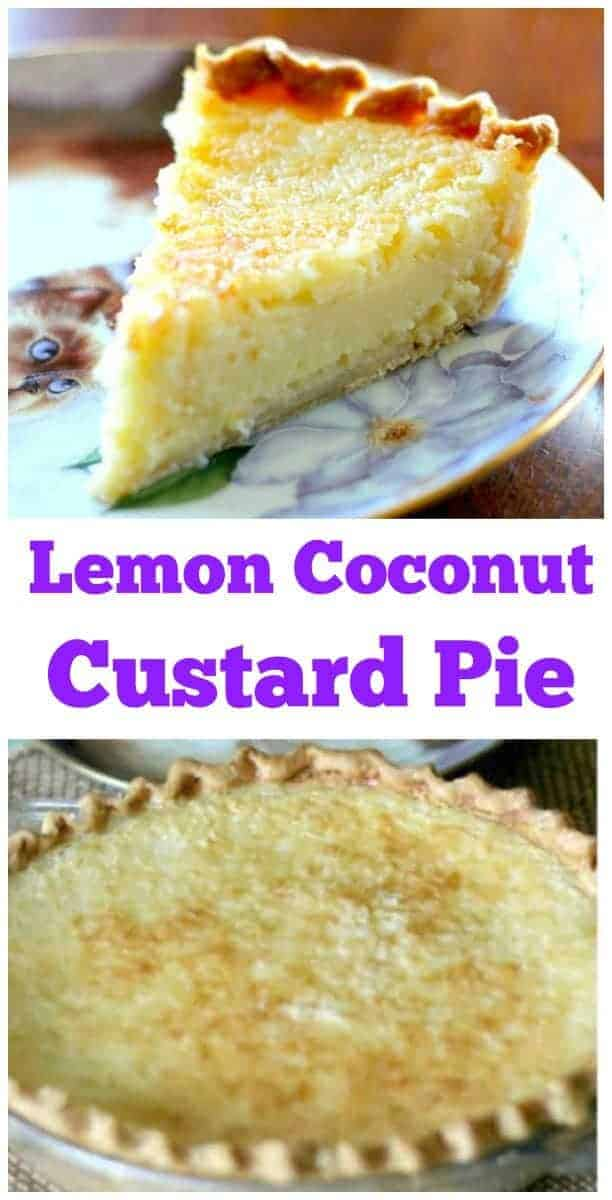 Creamy Lemon Coconut Custard Pie! You'll be blown away by this pie! So easy to make and the coconut milk, lemon and sweetened condensed milk adds a rich depth and creaminess. #coconut #lemon #pie #custard